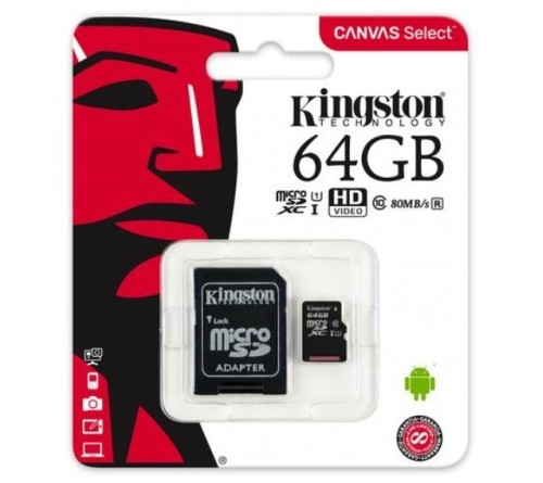 Kingston Canvas Select microSDXC 64GB class 10 UHS-I U1 - 80MB/s + adapteris