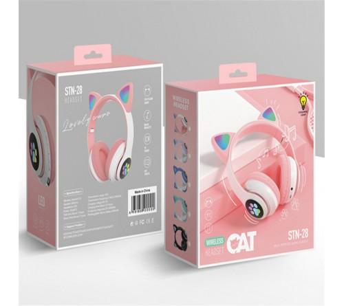 Rožinės bevielės ausinės su ausytėm STN-28