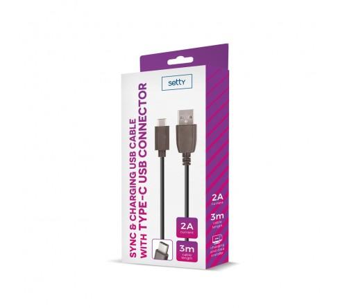 USB Setty 3m 2A type-C kabelis