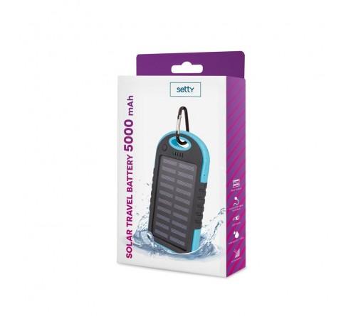 Setty Solar Power Bank 5000mAh Universalus nešiojamas įkroviklis 5V 1A + 1A + Micro USB kabelis / mėlynas