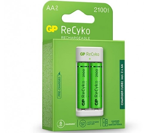 """""""GP ReCyko"""" 2 lizdų E211 USB įkroviklis su 2x 2100 mAh AA akumuliatoriais"""