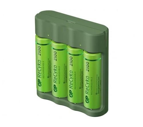 """""""GP ReCyko"""" 4 lizdų USB įkroviklis B421 su 4 x AA 2100 mAh NiMH akumuliatoriais"""