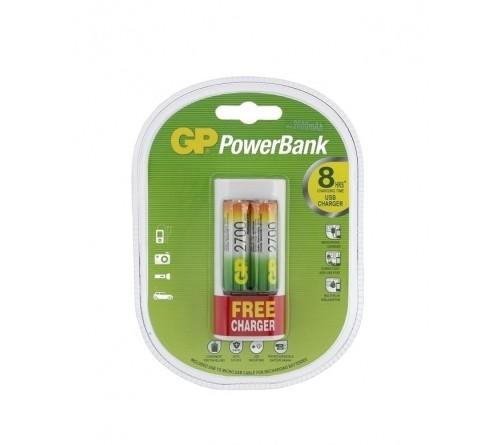 GP U211 USB  įkroviklis + 2x R6 2700mAh NiMH AA akumuliatoriai