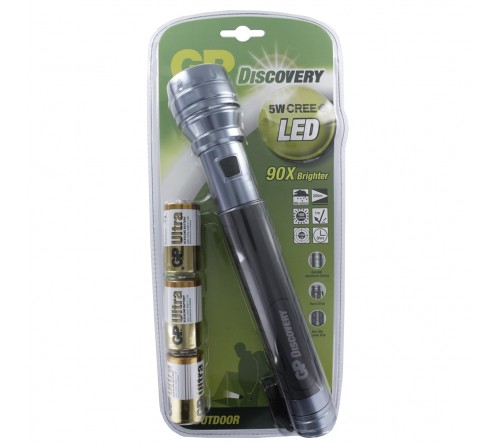 GP Discovery 5W CREE LED žibintuvėlis / C 3x baterijos