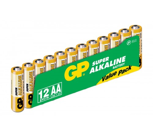 GP SUPER ALKALINE  AA/R6 12 vnt. baterijos