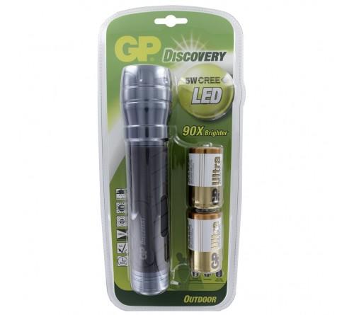 GP Discovery 5W CREE LED žibintuvėlis / D 2x baterijos