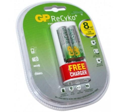 GP U211 USB ĮKROVIKLIS + 2X R6 2000 MAH NIMH RECYKO AKUMULIATORIAI