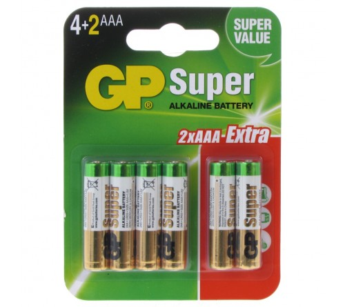 GP Super Alkaline Baterijos 6 vnt.