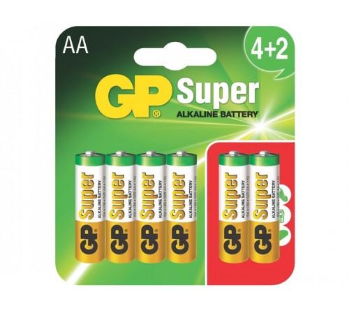 GP SUPER ALKALINE AA/R6 6 vnt. baterijos