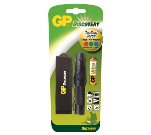 GP Discovery LED žibintuvėlis su dėklu / filtrais / AA baterija