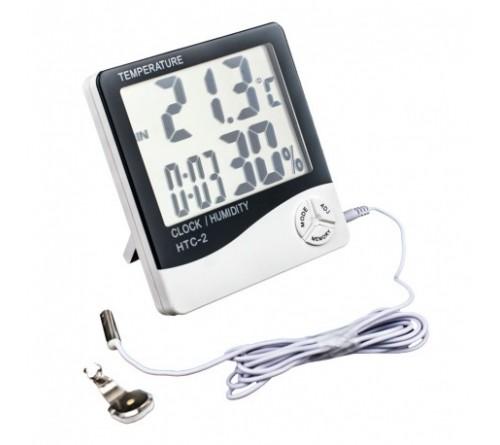 Skaitmeninis vidaus-lauko termometras, hidrometras su laikrodžiu bei žadintuvu
