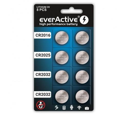 Komplektas everActive ličio diskinių baterijų: 4 x CR2032 / 2 x CR2025 /  2 x CR2016