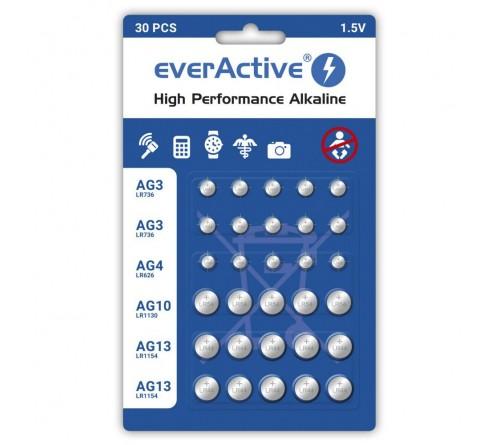 Komplektas iš 30 vnt. everActive mini šarminių baterijų