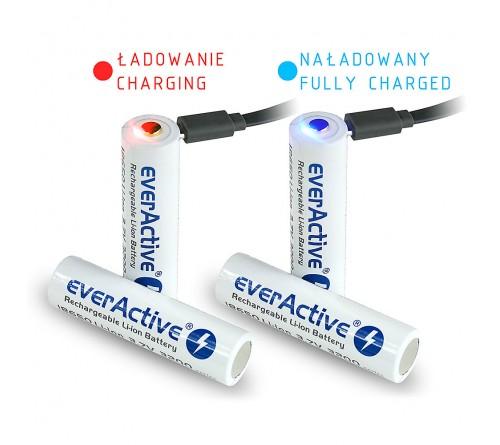 """""""EverActive 18650"""" 3,7 V ličio jonų 3200mAh """"micro USB"""" akumuliatorius su apsauga"""