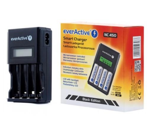 EverActive automatinis AA/AAA akumuliatorių įkroviklis su LCD ekranu NC-450